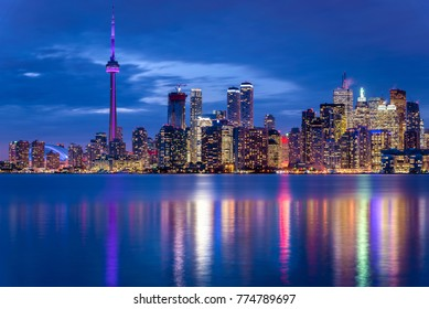 Night View of Downtown Toronto from Toronto Islands.