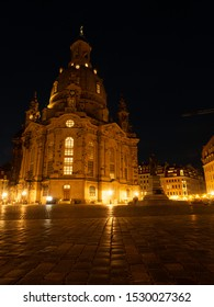 A Night View of The Dresden Frauenkirche(Evangelical-Lutheran Church of Saxony) in Dresden, Germany.