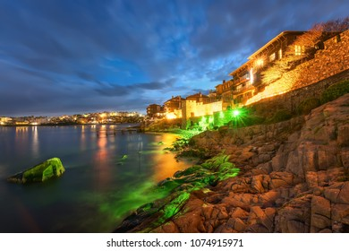 Night view of the east cape of Sozopol Old Town (former ancient town of Apollonia), Bulgaria