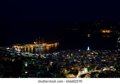 Night view of Ermoupoli in Syros island,Greece