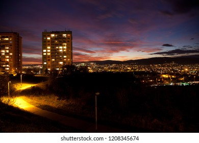 Night view from estate housing Dargovskych Hrdinov  on Kosice in Slovakia