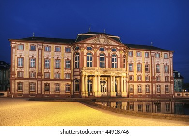 Night view of the famous baroque palace in Bruchsal, Germany