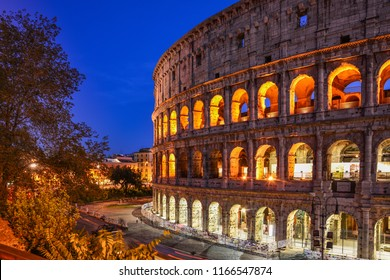 Night view of the famous Colosseum (Colosseo), or Flavian Amphitheatre, a giant ancient Roman amphitheatre located in the center of Rome, Italy. It is one of the iconic landmarks of Rome