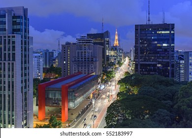 Night view of the famous Paulista Avenue, financial center of the city and one of the main places of Sao Paulo, Brazil