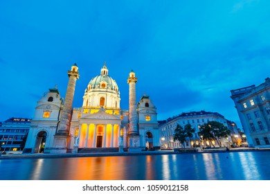 Night view of famous Saint Charles's Church at Karlsplatz in Vienna, Austria