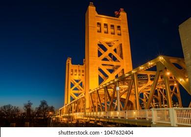 Night view of the famous tower bridge of Sacramento, California