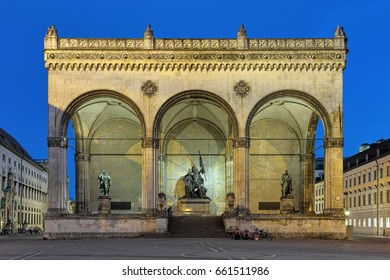 Night view of Feldherrnhalle - the monumental loggia on the Odeonsplatz in Munich, Germany. It was build in 1841-1844 by order of King Ludwig I of Bavaria to honor the tradition of his army.