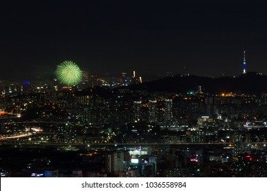 Night View and Fireworks in the City