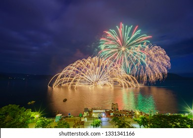 Night view of fireworks in the Lake Toya Onsen Festival at Hokkaido, Japan