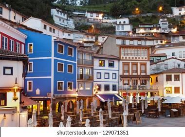 Night view of fisherman village in northern Spain (Cudillero,Asturias)
