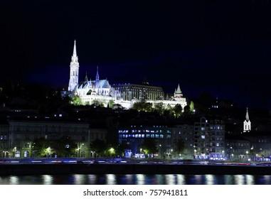Night view of Fishermen's Bastion and Matthias Church, Budapest, Hungary