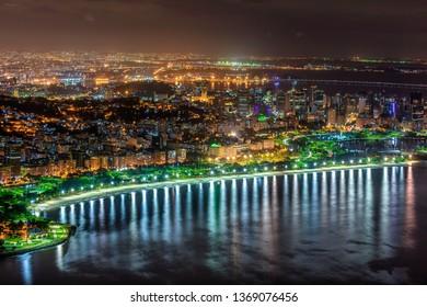Night view of Flamengo beach and Centro in Rio de Janeiro. Skyline of Rio de Janeiro. Postcard of Rio de Janeiro