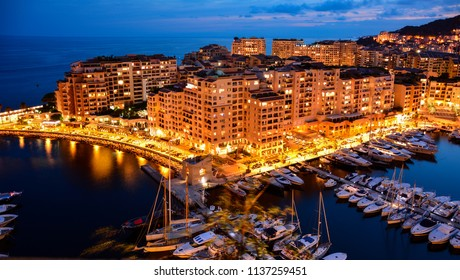 Night view of Fontvieille ward (district) of Monaco. The apartments located in the district are among the most expensive in the world