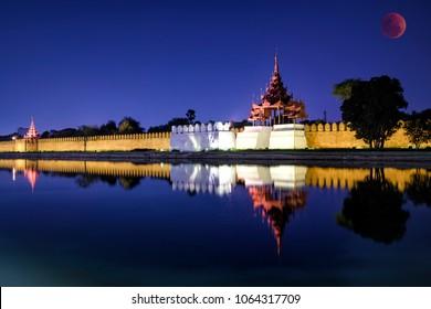 Night view of Fort or Royal Palace in Mandalay, Myanmar (Burma)