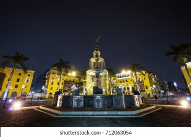 Night view of the fountain on the Plaza Mayor in Lima, Peru