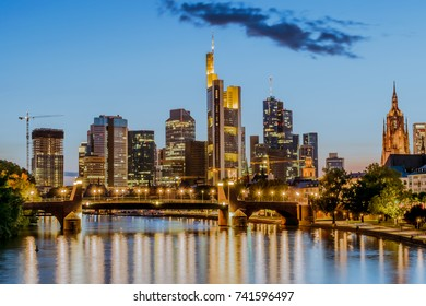 Night view of Frankfurt at Main skyline. Financial center of Germany.