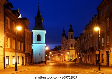 Night view at Freta street on old town in Warsaw, Poland