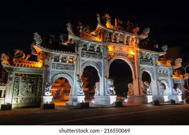 night view of a Front gate of a Chinese temple in Hsinchu, Taiwan