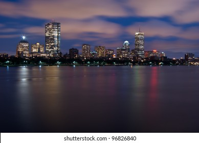 Night view of the full Boston Skyline with brightly illuminated buildings