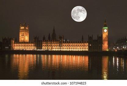 Night view with full moon of the Houses of Parliament Westminster Palace London
