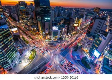 night view at gangnam square seoul south korea