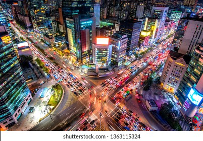 night view of gangnam square in seoul city south Korea