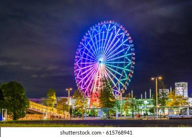 night view of Giant ferris wheel at Odaiba, Tokyo, Japan