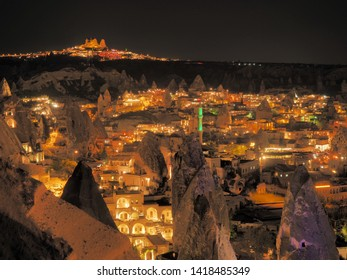 Night view of Goreme on Cappadocia, Turkey. Color temperature : 7500K(outdoors in the shadows on a clear day)