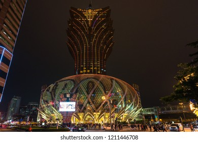 Night view of Grand Lisboa casino, the tallest building of Macau and one of the most famous landmarks. Macau, January 2018