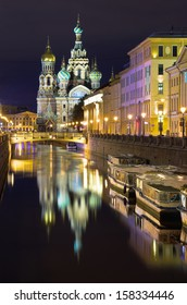 Night view of Griboedov channel and the church of Savior on Spilled Blood (Cathedral of the Resurrection of Christ). St.Petersburg, Russia