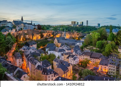 Night view of Grund and St John's Church from Ville Haute, Luxembourg City and Kirchberg.