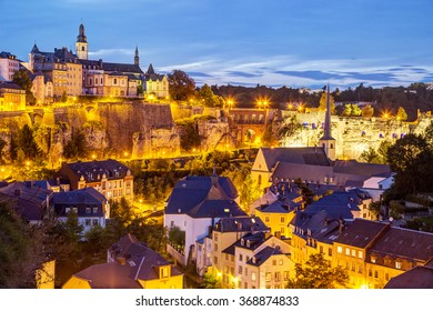Night view of Grund and St John's Church from Ville Haute, Luxembourg City