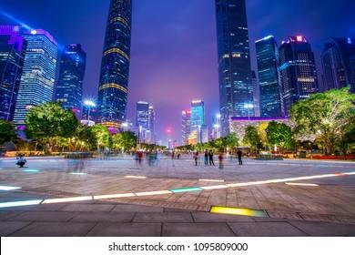 The night view of Guangzhou city building