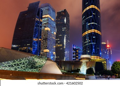 Night view of the Guangzhou Opera House and other modern buildings at the Zhujiang New Town (the Pearl River New Town) in Guangzhou, China. Beautiful cityscape.