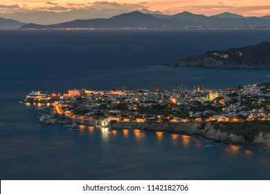 Night view of the Gulf of Naples and the city of Forio. Island of Ischia. Italy