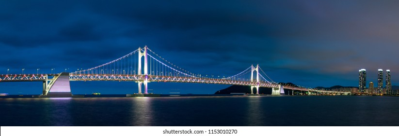 The night view of Gwangan Bridge in Busan city, South Korea