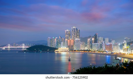 Night view of Haeundae beach. Haeundae beach is Busan's most popular beach in South Korea.
