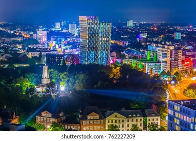 Night view of Hamburg with the bismarck monument in Germany.