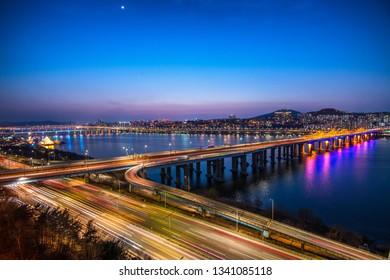 night view of han river in seoul city south Korea