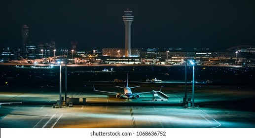the Night view of the Haneda airport Tokyo Japan with aircraft