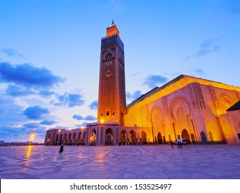Night view of Hassan II Mosque in Casablanca, Morocco, Africa