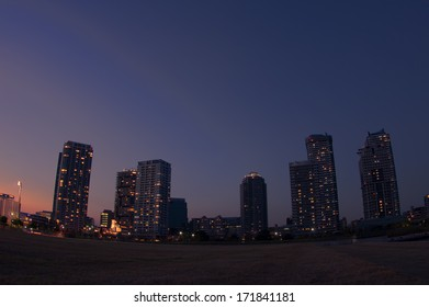 The night view of a high-rise apartment buildings