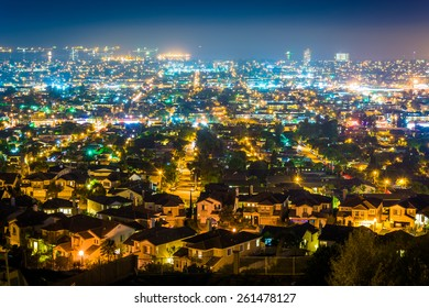 Night view from Hilltop Park, in Signal Hill, Long Beach, California.