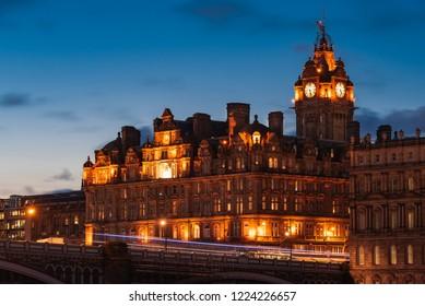 Night view of historic Balmoral hotel in Edinburgh, Scotland, United Kingdom