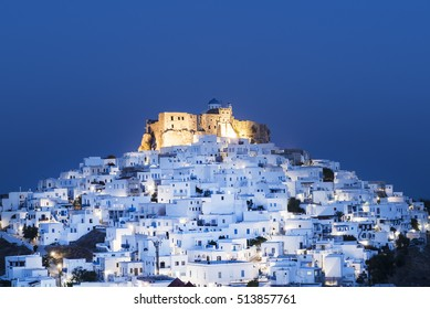 Night view of the historic Querini Castle and the town of Chora, at the Greek island of Astypalaia, in Dodecanese island complex