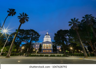 Night view of the historical California State Capitol  at Sacramento, California