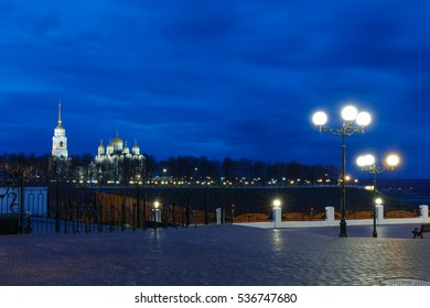 Night view of historical center of Vladimir city, Russia.