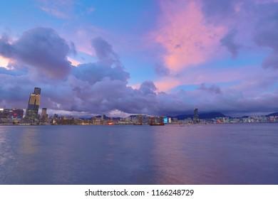 a night view of hk Victoria harbor