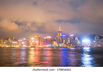 Night view of Hong Kong business downtown