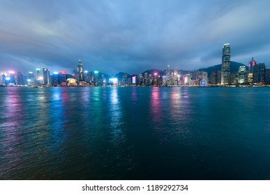 Night view of Hong Kong Island and Victoria Harbour from the Avenue of Stars in Tsim